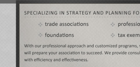 SPECIALIZING IN STRATEGY AND PLANNING FOR trade associations foundations professional societies tax exempt membership organizations With our professional approach and customized programs, you'll benefit from proven methods and best practices that will prepare your association to succeed.  We provide consulting and facilitation services to help your association operate with efficiency and effectiveness.